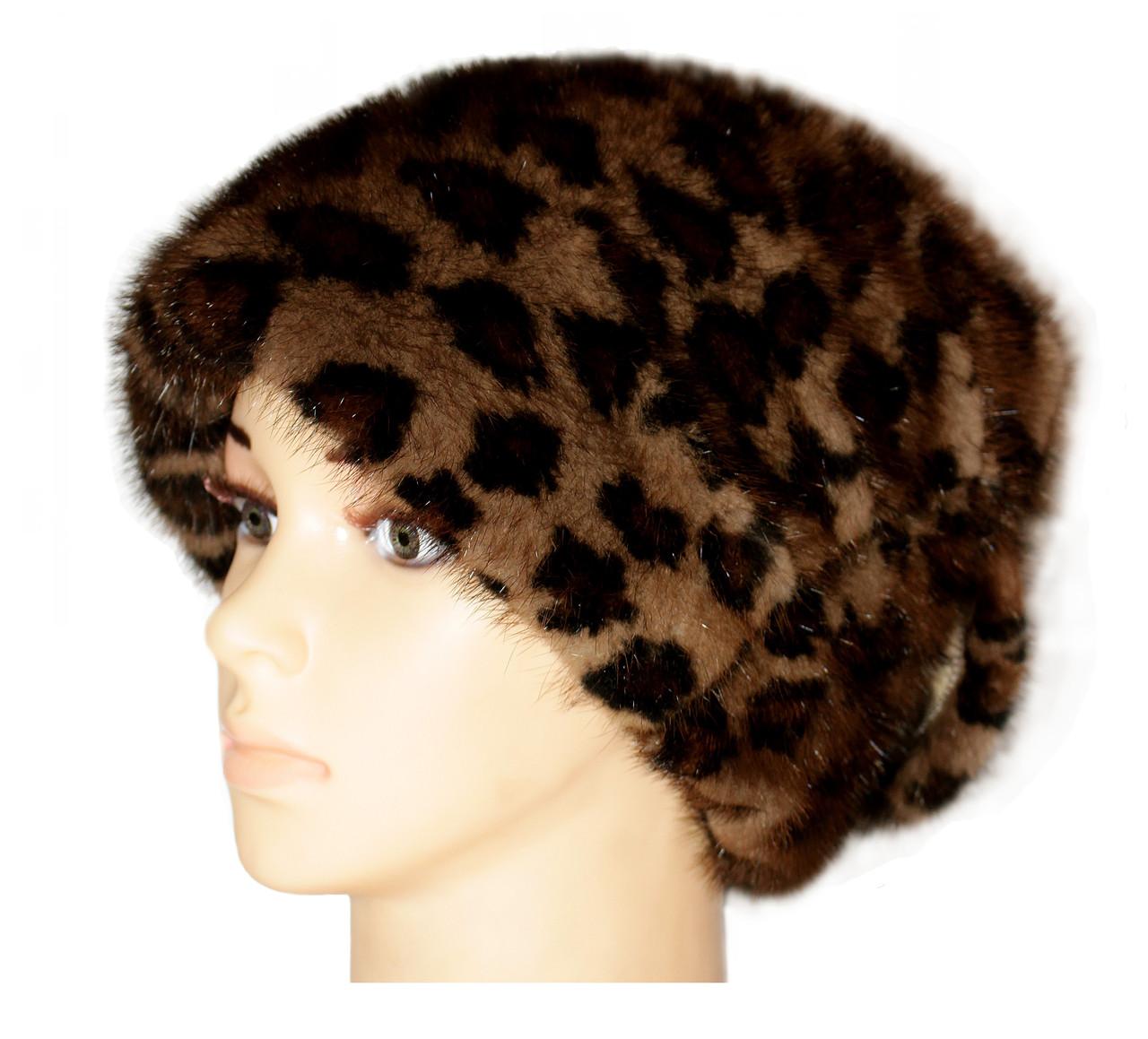 """Женская меховая шапка норковая, """"Стелла Веер"""" (леопард)"""