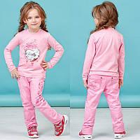 Розовый костюм реглан с паетками и штаны с принтом на кармане Zironka