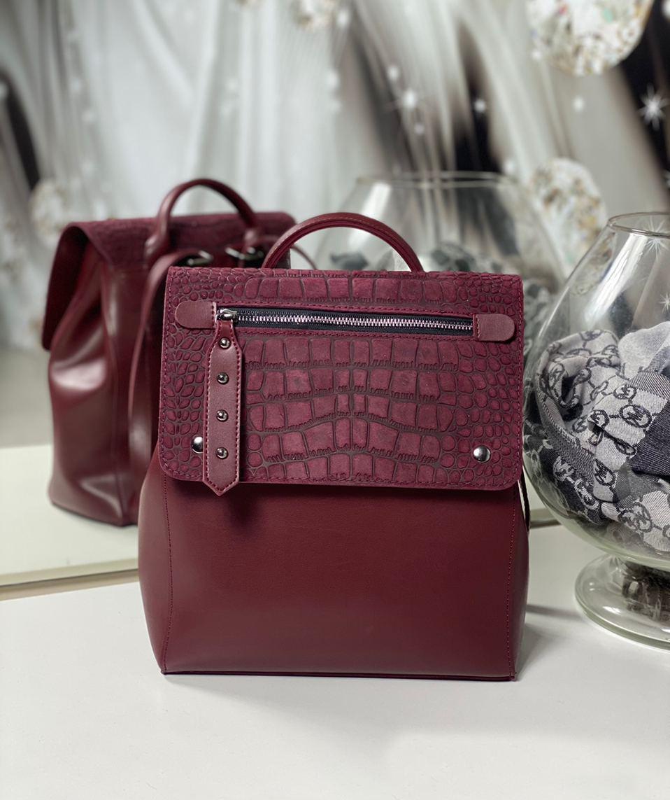 Женский рюкзак молодежный городской стильный модный сумка-рюкзак бордовый натуральная замша+экокожа