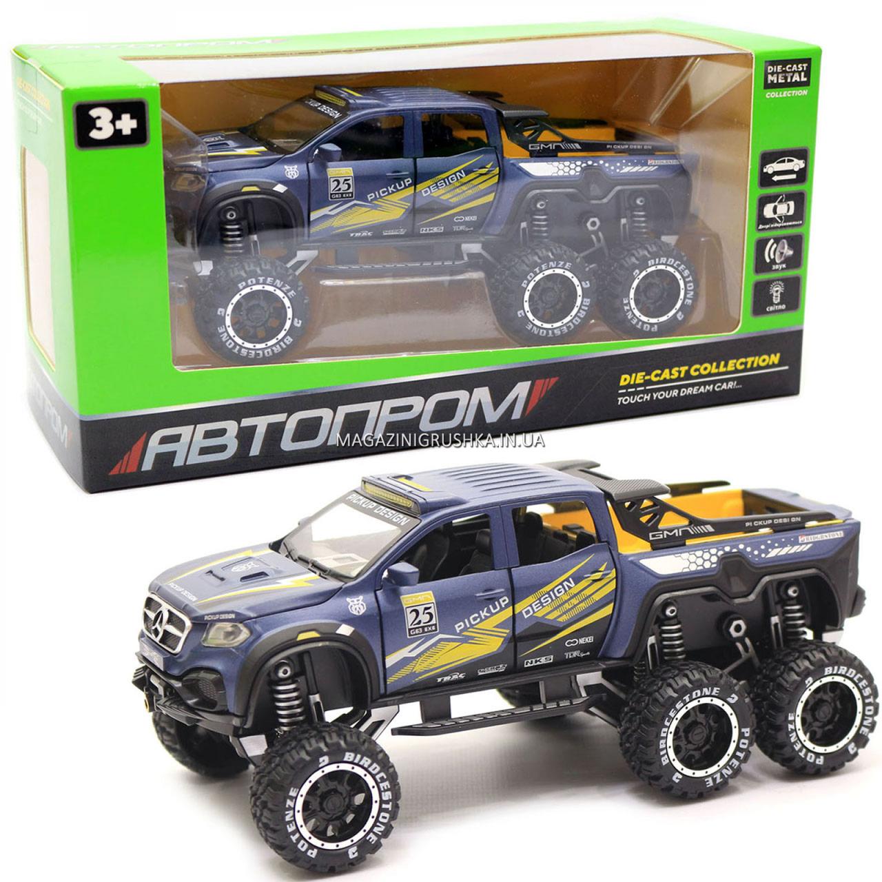Іграшкова Машинка автопром «Mercedes» (джип) метал, 20 см, синій (світло, звук, двері відкриваються) 7586