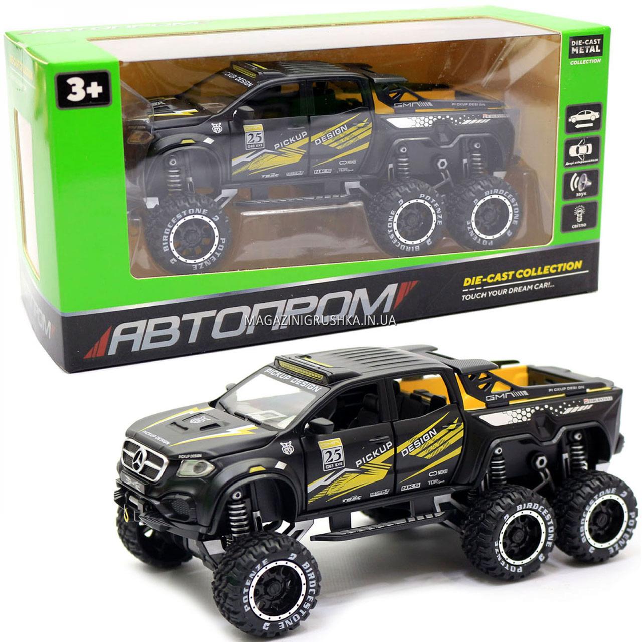 Іграшкова Машинка автопром «Mercedes» (джип) метал, 20 см, чорний (світло, звук, двері відкриваються) 7586