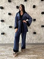 Женская велюровая пижама-тройка с жакетом брюками и майкой, фото 1