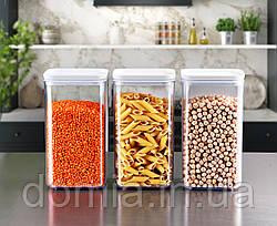 Набор 3-пр контейнеров пищевых CRYSTAL квадратных ЕMHOUSE 1,5л. EP-152