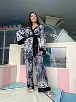 Женская велюровая пижама-тройка с рисунком больших размеров, фото 1