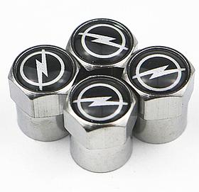 Захисні металеві ковпачки Primo на ніпель, золотник автомобільних коліс з логотипом Opel - Silver