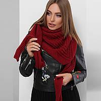 Платок теплый бордовый вязаный, косынка, бактус, фото 1