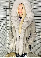 Парка пихора женская с мехом енота бежевая 20-9918-1