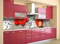 Скинали на кухню Zatarga «Мокрая клубника» 600х3000 мм виниловая 3Д наклейка кухонный фартук самоклеящаяся