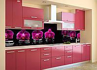 Скинали на кухню Zatarga «Фиолетовый Орхидеи 02» 600х3000 мм виниловая 3Д наклейка кухонный фартук Z180558/2