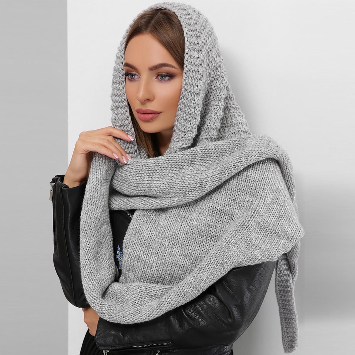 Треугольный вязаный платок теплый женский стильный