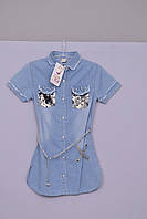 Крутое Платье-рубашка для девочки из тонкого джинса Л-157 рост 140 146 152, фото 1