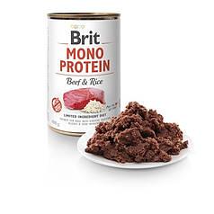 Консервы для собак Brit Mono Protein Beef/Rise с говядиной и темным рисом 400 г