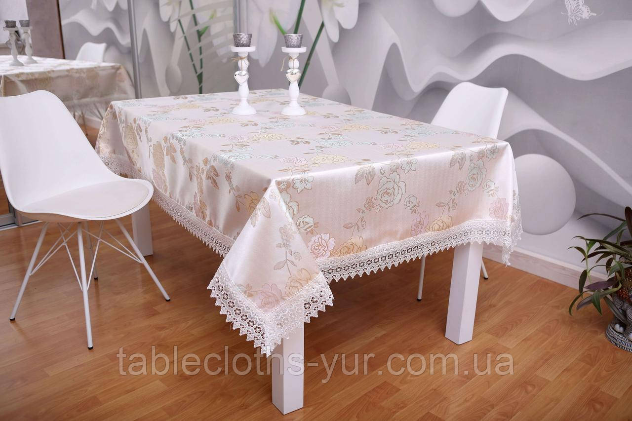 Скатерть Праздничная с кружевом 3D 140-180 Розы Розовые