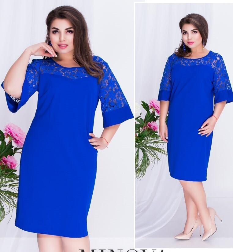 """Великолепное женское платье, ткань """"Креп-дайвинг"""" 50, 52 размер батал 50"""