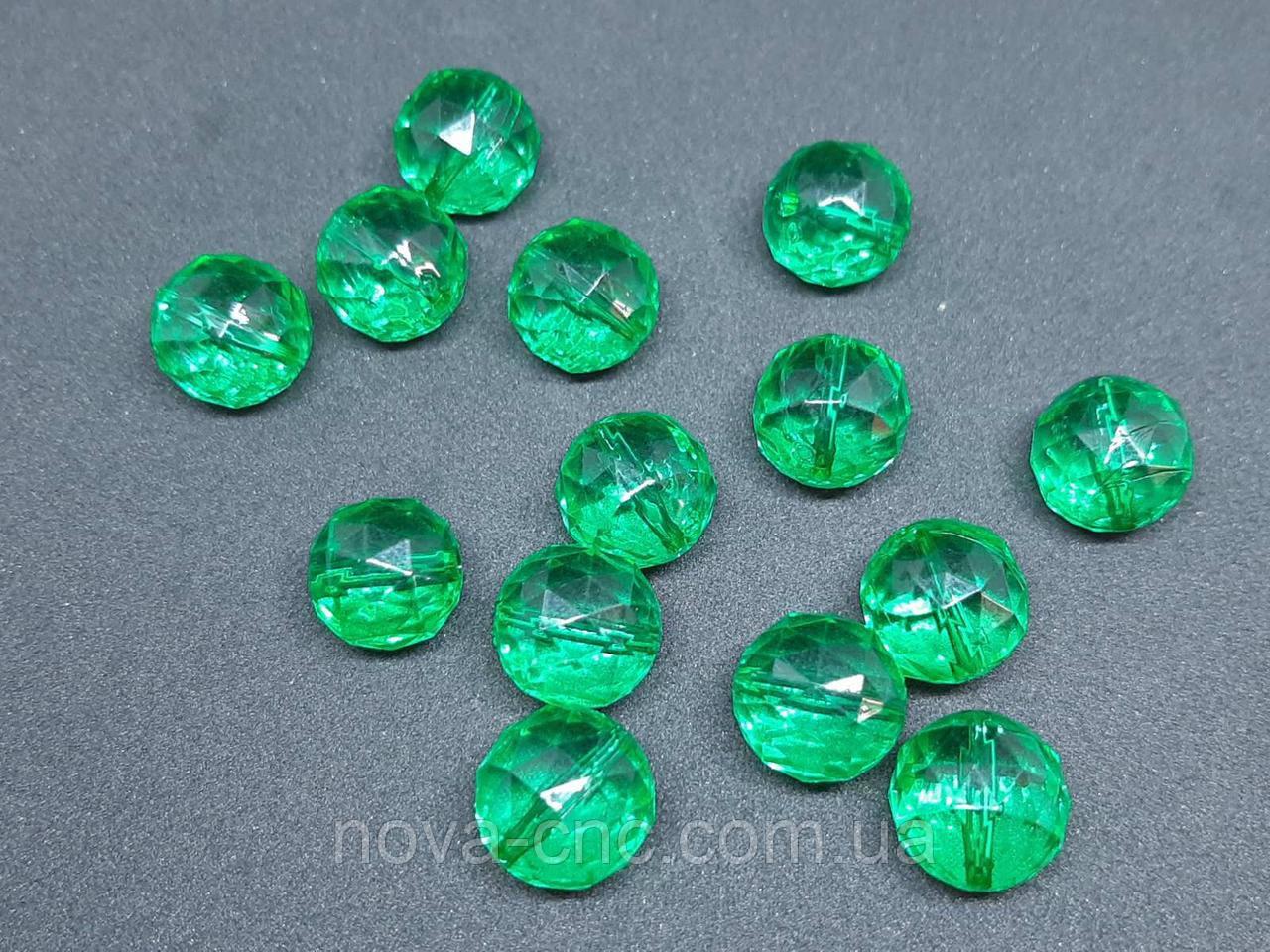 """Бусины акрил """"Шар треугольная грань"""" зеленый 16 мм 500 грамм"""