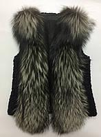 Женская стильная модная жилетка с натуральным  мехом чернобурки Fashion Furs, фото 1