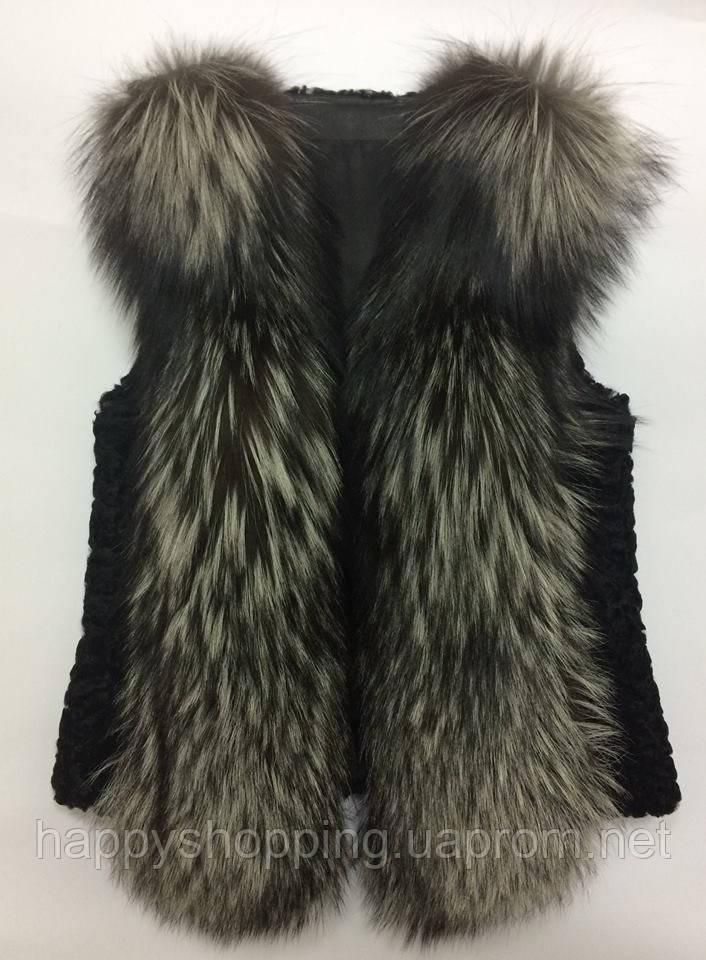 Женская стильная модная жилетка с натуральным  мехом чернобурки Fashion Furs