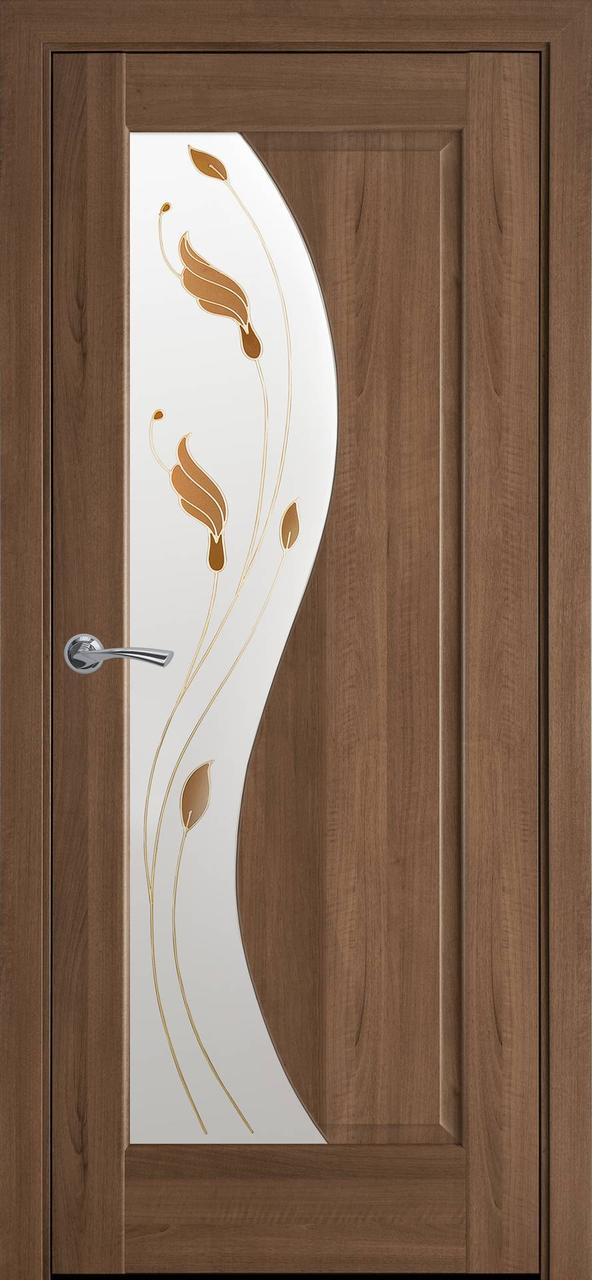 """Дверь межкомнатная """"Новый Стиль"""" модель Эскада Р1, золотая ольха (стекло с рисунком)"""