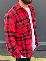 Рубашка мужская теплая с длинным рукавом свободная в клетку Саймон красная осень-весна Турция. Живое фото