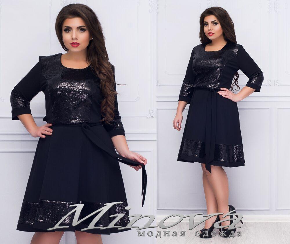 """Роскошное женское платье  с пайетками, ткань """"Креп-дайвинг""""  54, 56 размер батал 54"""