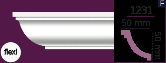 Карниз стельовий гладкий 1231 (2.44м) Flexi Home Decor ліпний декор з поліуретану