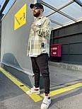Рубашка мужская теплая с длинным рукавом свободная в клетку Саймон хаки осень-весна Турция. Живое фото, фото 2