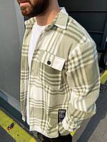 Рубашка мужская теплая с длинным рукавом свободная в клетку Саймон хаки осень-весна Турция. Живое фото