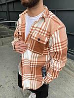 Рубашка мужская теплая с длинным рукавом свободная в клетку Саймон кирпичная осень-весна Турция. Живое фото