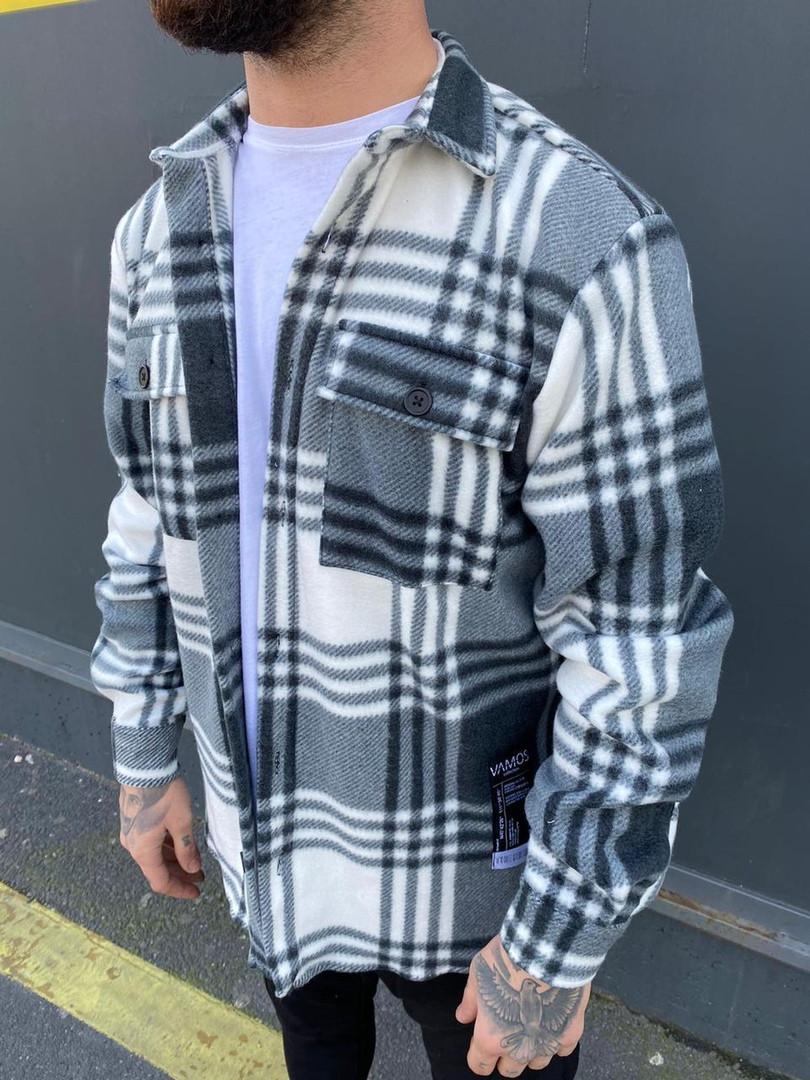 Рубашка мужская теплая с длинным рукавом свободная в клетку Саймон черно-белая осень-весна Турция. Живое фото