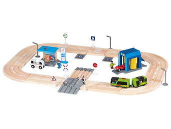 """Дерев'яна залізниця PlayTive Junior """"Автобан"""" 57 деталей Німеччина Ikea Lillabo"""