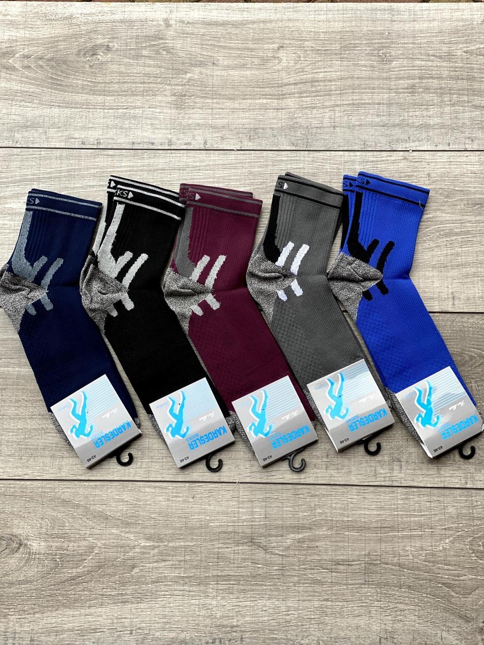 Чоловічі cередні шкарпетки Kardesler з мікрофібри спортивні носки  12 шт в уп мікс кольорів