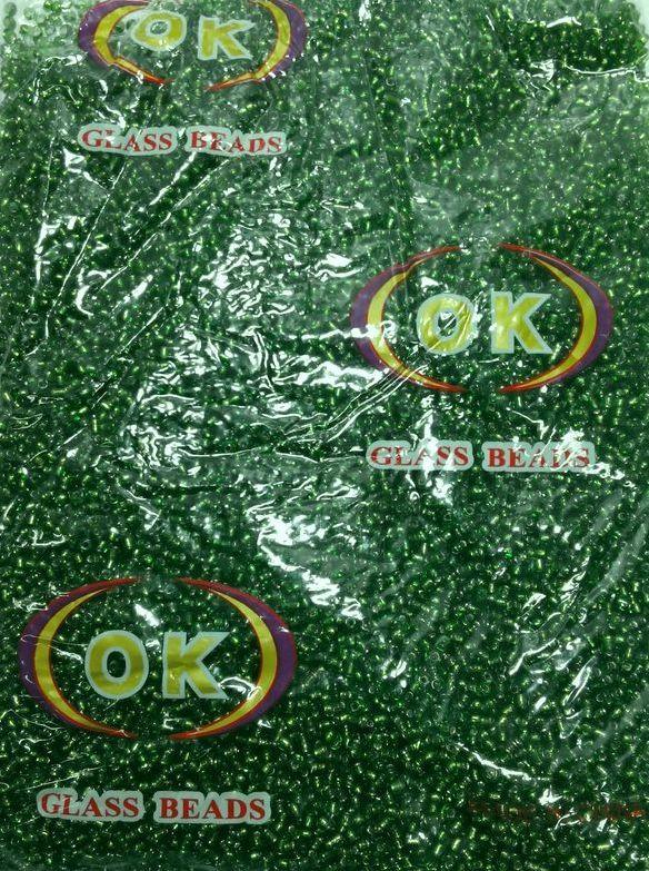 Бисер мелкий зеленый с блестящей серединкой (450г/уп)