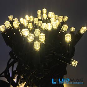 Светодиодная гирлянда String Нить 8м 80LED Каучук PROF Теплый белый 8 мигающих светодиодов
