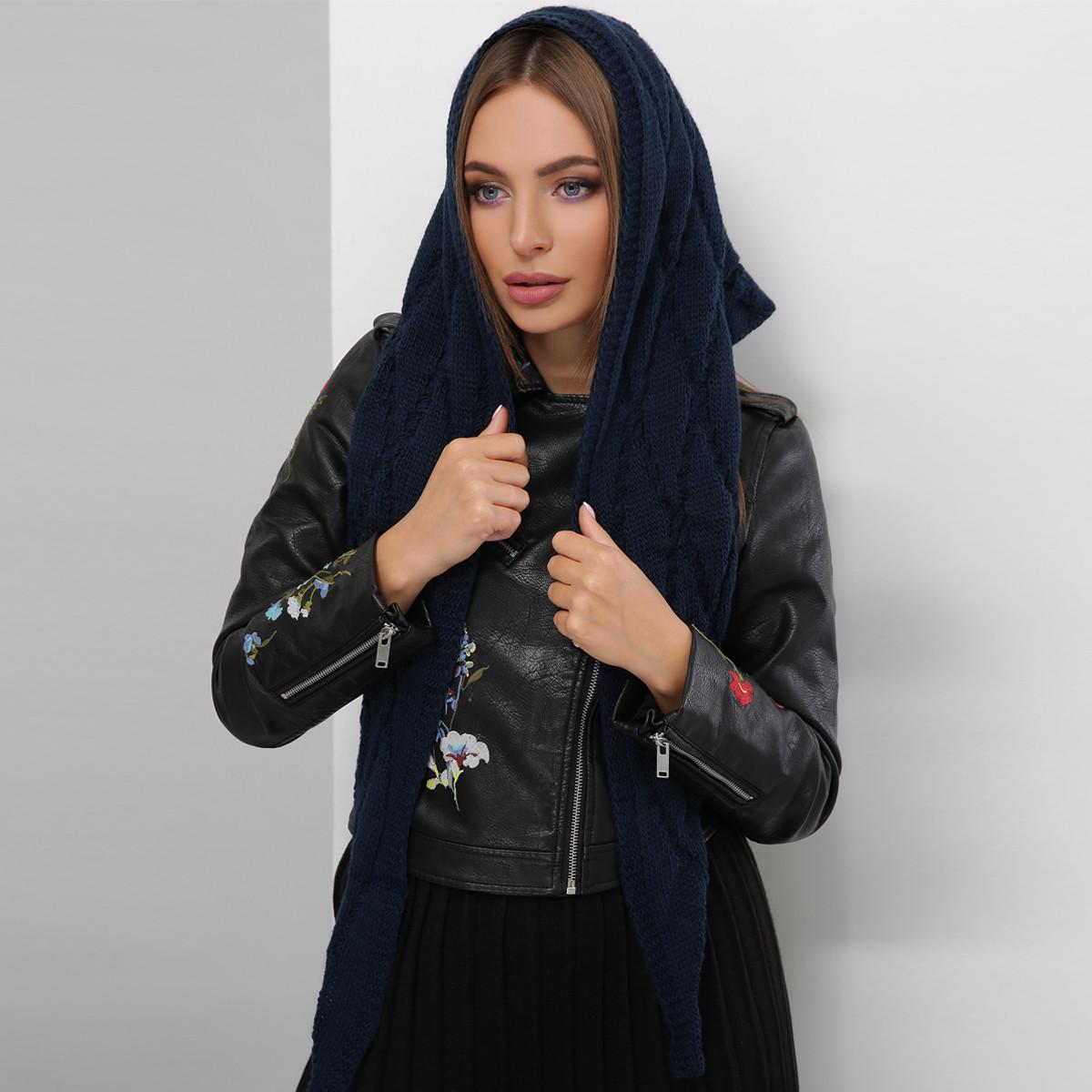 Синий женский платок вязаный теплый