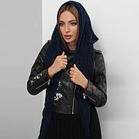 Синий женский платок вязаный теплый, фото 1