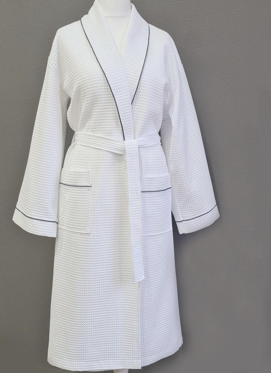 Женский вафельный халат XL с графитовым кантом