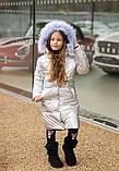 Пальто пуховик для девочки с капюшоном, фото 3