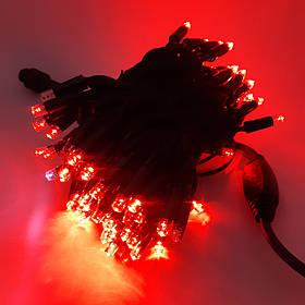 Светодиодная гирлянда String Нить 10 Flash 10м 100LED красная на черном кабеле (каучук) IP65
