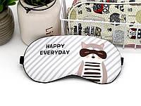 Маска для сна с гелевым вкладышем Eye Mask Полосатая Енот