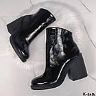 Демисезонные женские черные ботильоны, натуральная лакированная кожа, фото 9