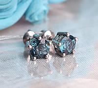 Серьги серебряные, родированые, с голубым Лондон-топазом.