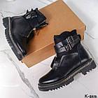 Зимние женские черные ботинки, натуральная кожа/неопрен, фото 8