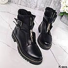 Зимние женские черные ботинки, натуральная кожа/неопрен, фото 7