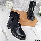 Зимние женские черные ботинки, натуральная кожа/неопрен, фото 9