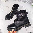 Зимние женские черные ботинки, натуральная кожа/неопрен, фото 10