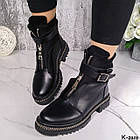 Зимние женские черные ботинки, натуральная кожа/неопрен, фото 2