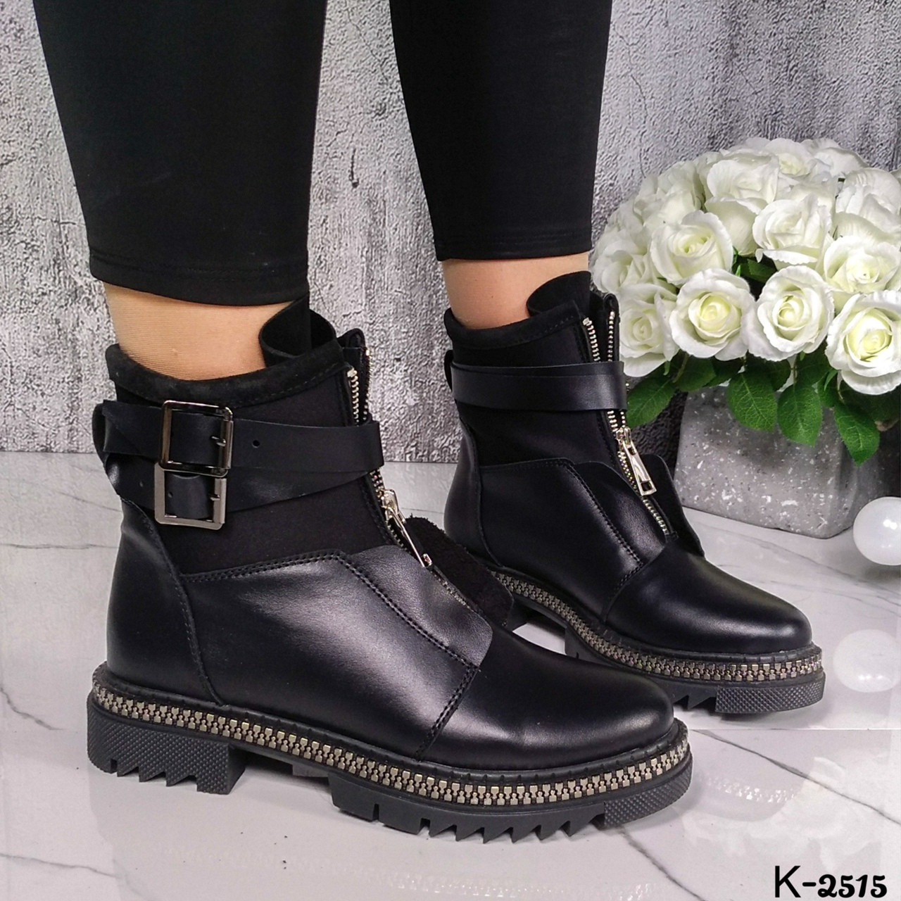 Зимние женские черные ботинки, натуральная кожа/неопрен