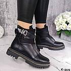 Зимние женские черные ботинки, натуральная кожа/неопрен, фото 4