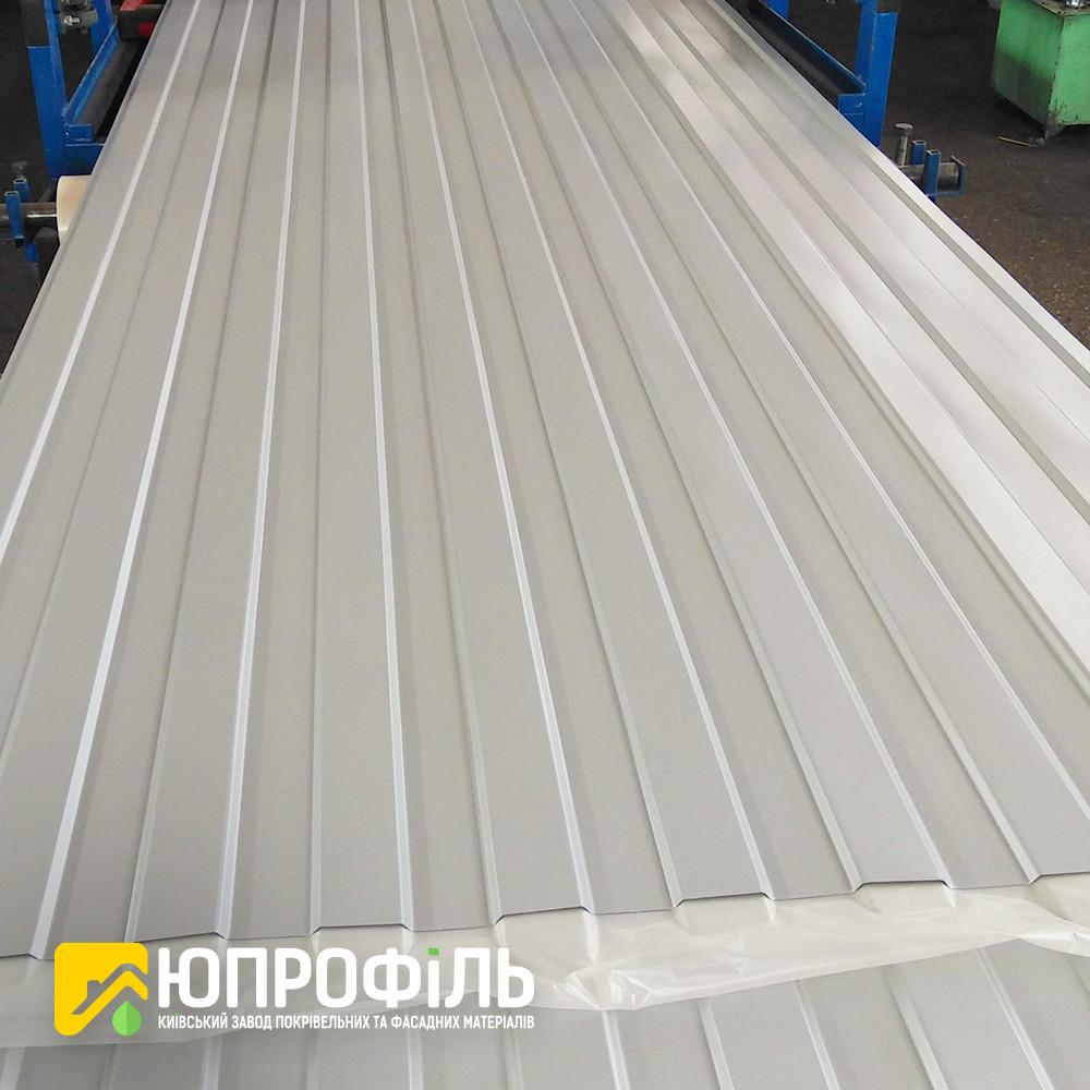 Профнастил стеновой ПС8 для забора Серый RAL 7004 глянец 0.40 мм.