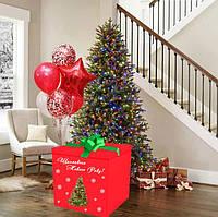 Новорічна Коробка-сюрпризс велика Гелієвими кулями 70х70см (Червона з ялинкою)+наклейка+декор+інд. напис